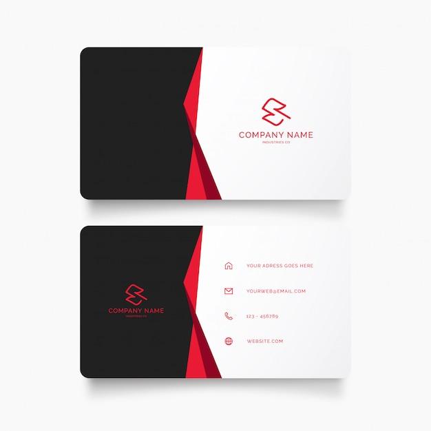 Modelo de cartão de negócios profissional com fita vermelha Vetor grátis