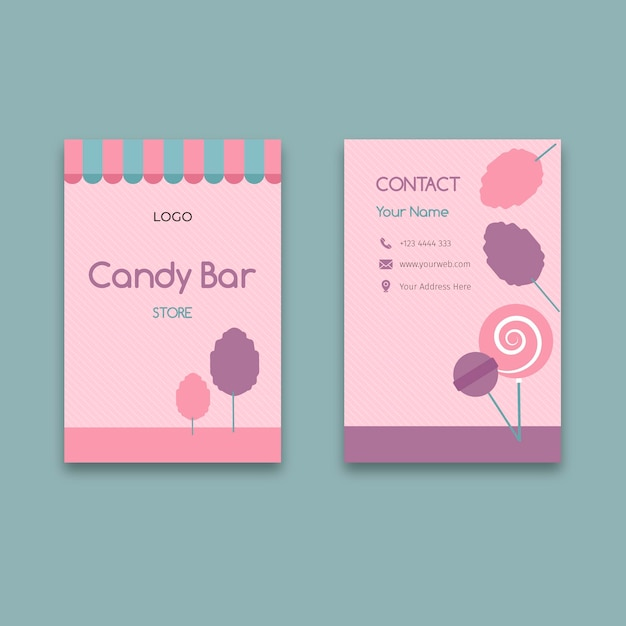 Modelo de cartão de negócios vertical barra de chocolate rosa Vetor Premium