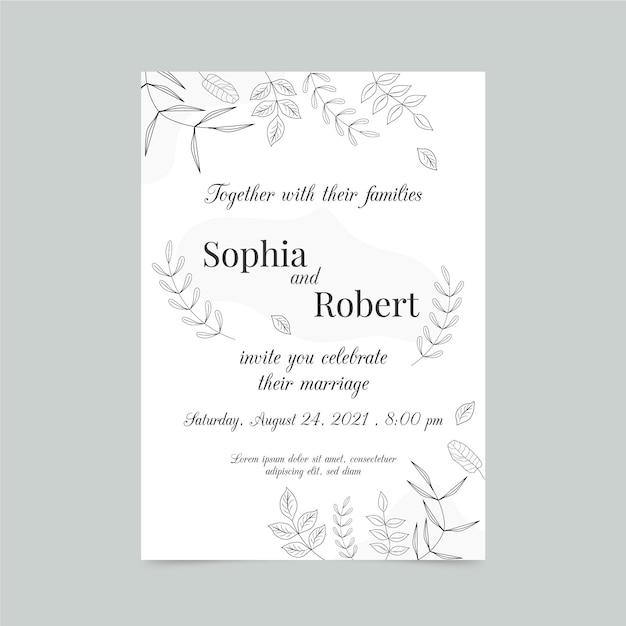 Modelo de cartão de noivado com elementos elegantes Vetor grátis