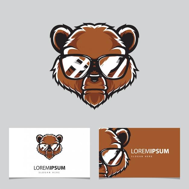 Modelo de cartão de nome do logotipo da cabeça de urso Vetor Premium