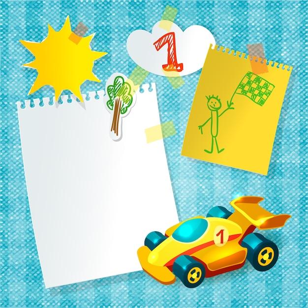 Modelo de cartão de papel de corrida de brinquedo Vetor Premium