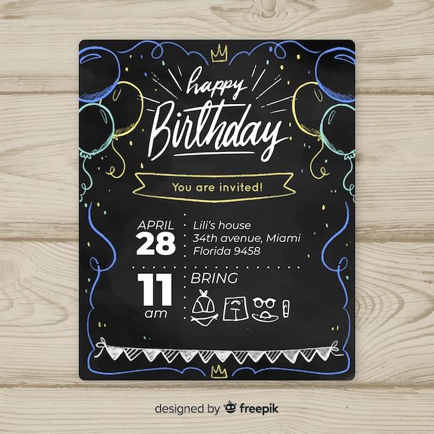 Modelo de cartão de primeiro aniversário de balões de quadro-negro Vetor grátis