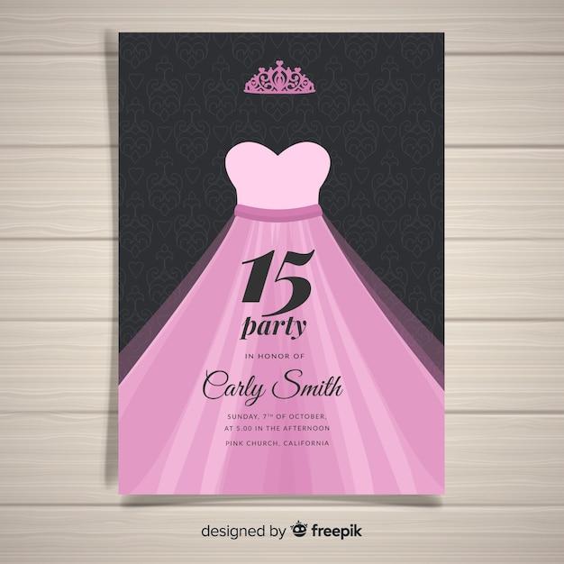 Modelo de cartão de quinceanera de vestido de princesa Vetor grátis
