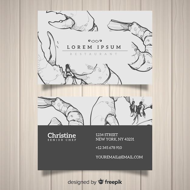 Modelo de cartão de restaurante desenhado mão realista Vetor grátis