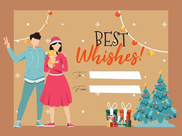 Modelo de cartão de saudação com ilustrações de desenhos animados de feliz natal e feliz ano novo com a família Vetor Premium