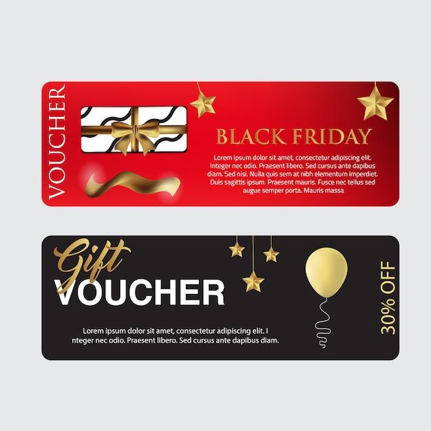 Modelo de cartão de vale de sexta-feira negra Vetor Premium