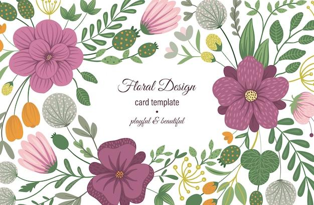 Modelo de cartão de vetor com elementos florais. design com flores Vetor Premium