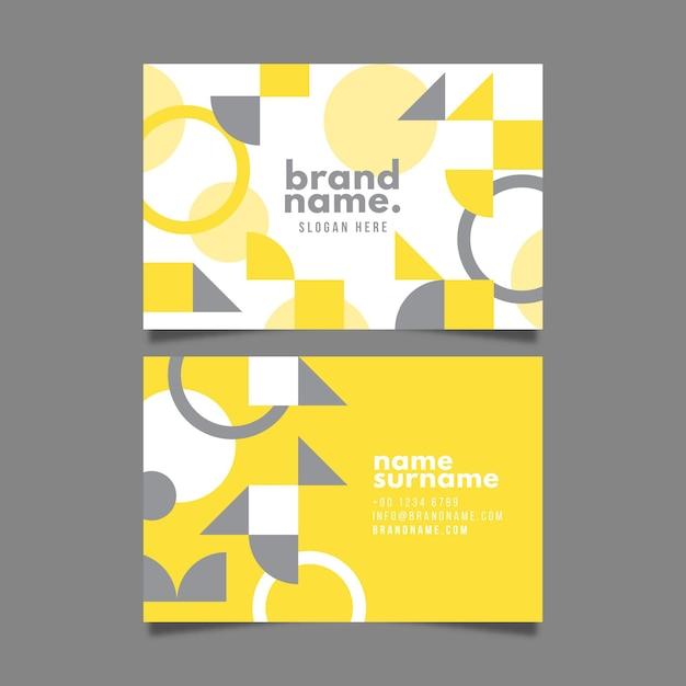 Modelo de cartão de visita abstrato amarelo e cinza Vetor Premium