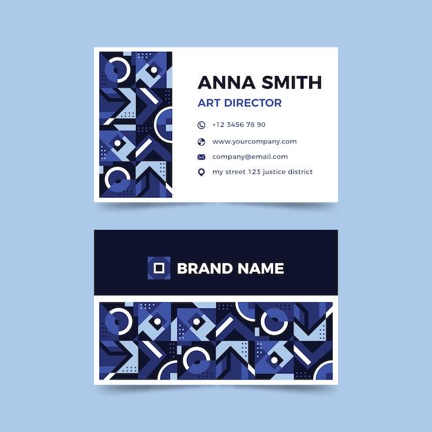 Modelo de cartão de visita azul clássico abstrato Vetor grátis