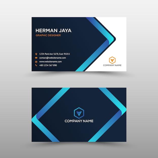 Modelo de cartão-de-visita - azul e preto Vetor Premium