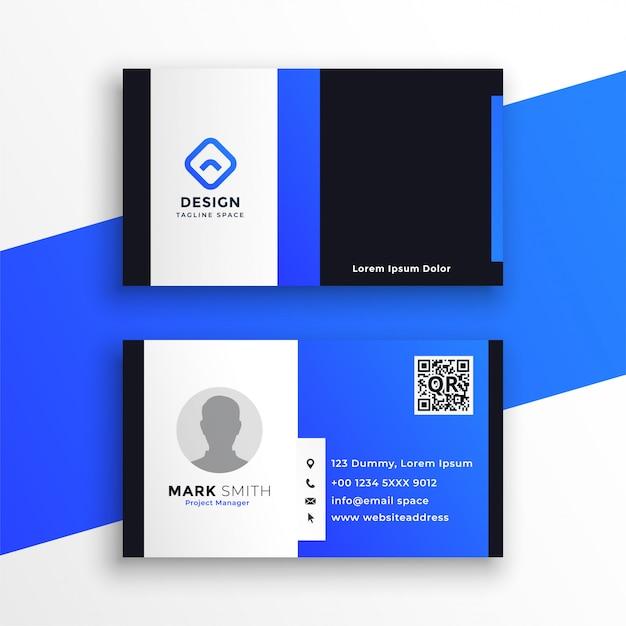 Modelo de cartão de visita azul moderno e elegante Vetor grátis