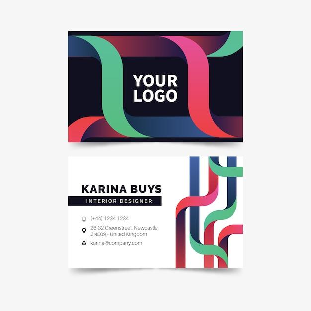 Modelo de cartão de visita colorido abstrato negócios Vetor grátis