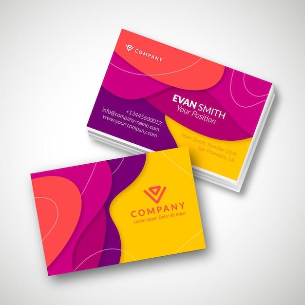 Modelo de cartão de visita colorido Vetor grátis