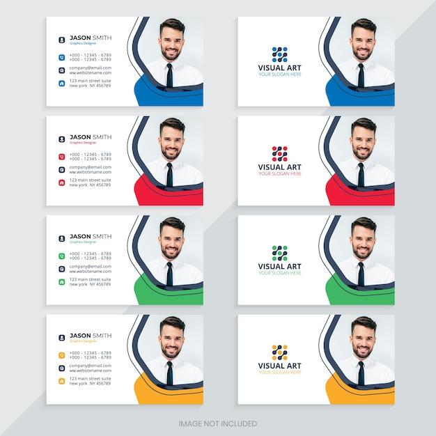Modelo de cartão de visita com cores diferentes Vetor Premium