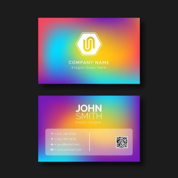 Modelo de cartão de visita com cores gradientes Vetor Premium