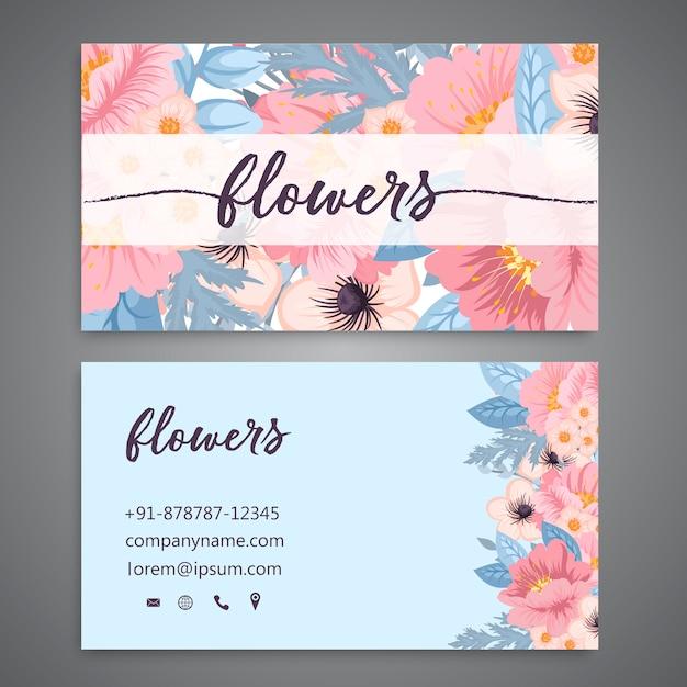 Modelo de cartão de visita com flores em aquarela Vetor Premium