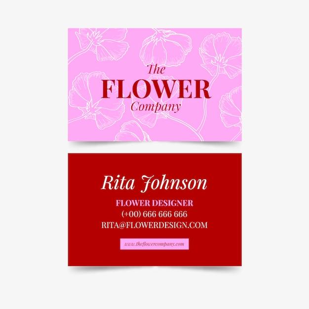 Modelo de cartão de visita com flores Vetor grátis