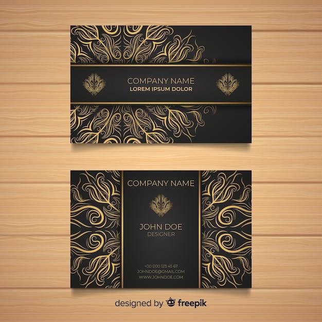 Modelo de cartão de visita da mandala Vetor Premium