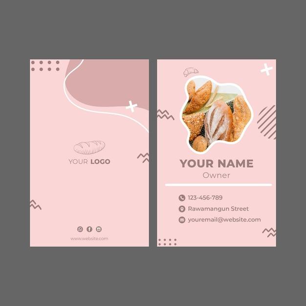 Modelo de cartão de visita de anúncio de padaria Vetor Premium