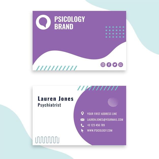 Modelo de cartão de visita de consultoria em psicologia Vetor Premium