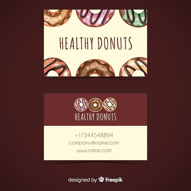 Modelo de cartão de visita de donuts em aquarela Vetor grátis