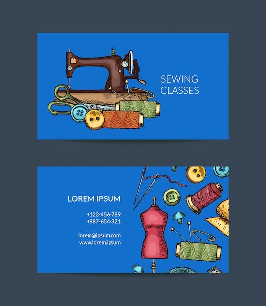 Modelo de cartão de visita de elementos de costura mão desenhada para atelier ou ilustração de classes de costura Vetor Premium