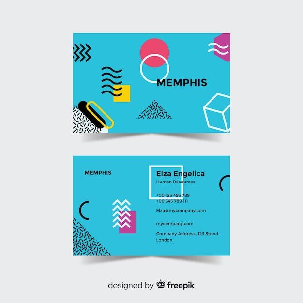 Modelo de cartão de visita do estilo de memphis Vetor grátis