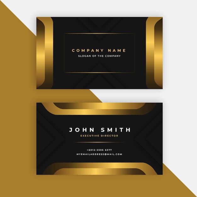 Modelo de cartão de visita dourado Vetor Premium