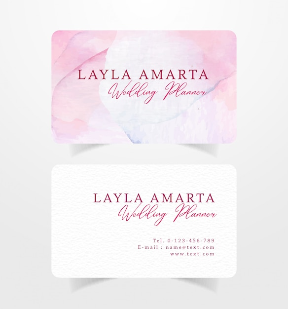 Modelo de cartão de visita em aquarela rosa splash Vetor Premium