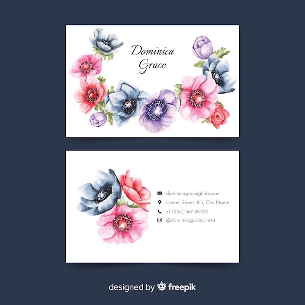 Modelo de cartão de visita floral aquarela Vetor grátis