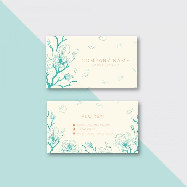 Modelo de cartão-de-visita - floral Vetor Premium