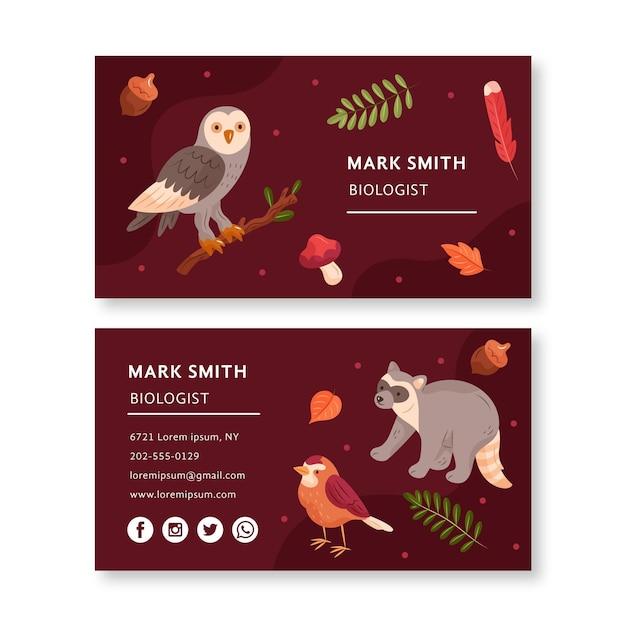 Modelo de cartão de visita frente e verso com animais da floresta Vetor Premium