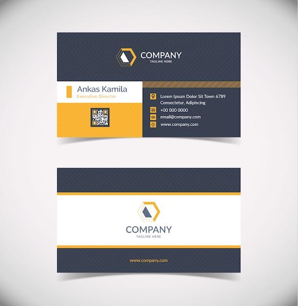 Modelo de cartão de visita geométrico moderno cinza e laranja escuro Vetor Premium