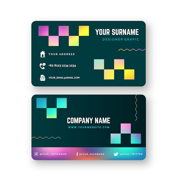 Modelo de cartão de visita gradiente colorido Vetor grátis