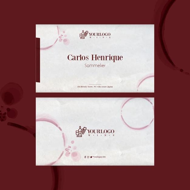 Modelo de cartão de visita horizontal para melhor evento de degustação de vinhos Vetor grátis