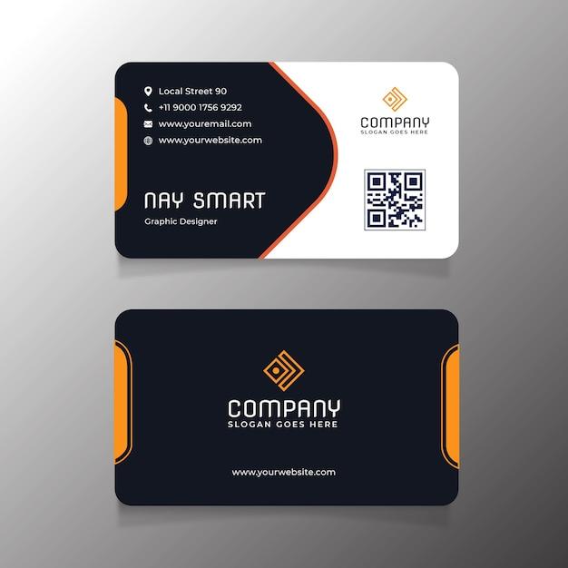 Modelo de cartão de visita laranja com código qr Vetor Premium