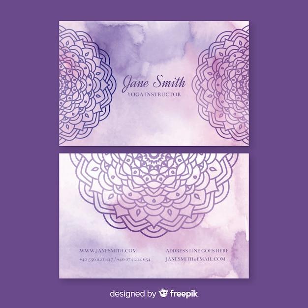 Modelo de cartão-de-visita - mandala violeta em aquarela Vetor grátis