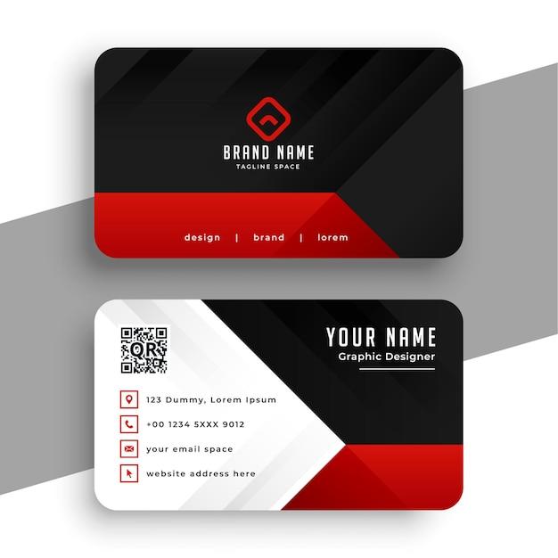 Modelo de cartão de visita moderno vermelho e preto Vetor grátis