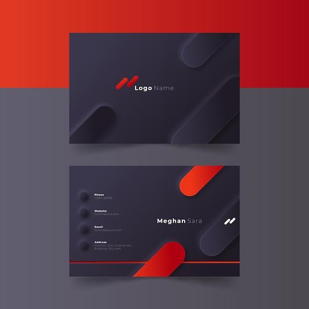 Modelo de cartão de visita neumorph Vetor Premium