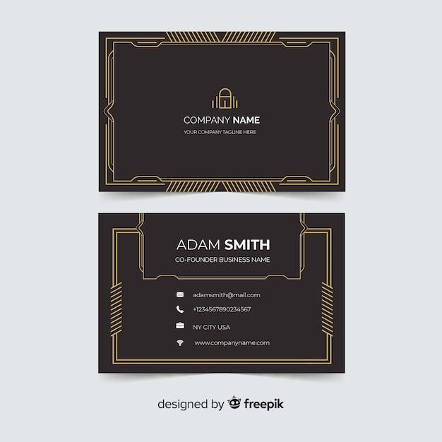 Modelo de cartão de visita ornamental dourado Vetor grátis