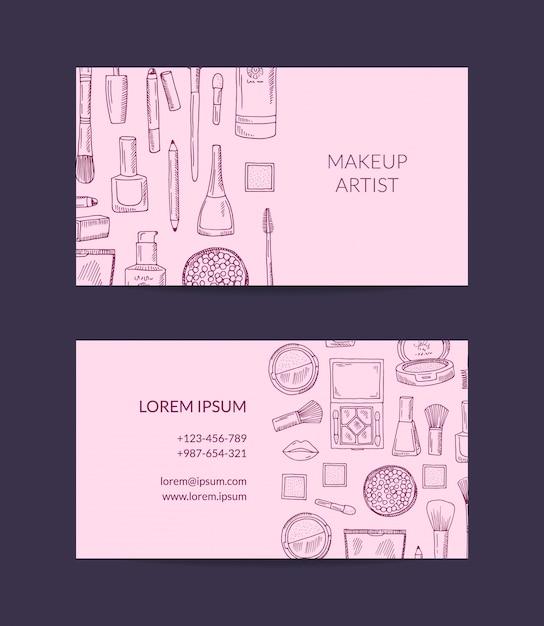 Modelo de cartão de visita para marca de beleza Vetor Premium