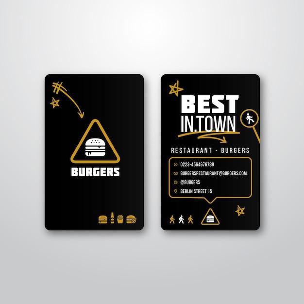 Modelo de cartão de visita para restaurante de hambúrguer Vetor grátis