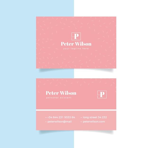 Modelo de cartão-de-visita - tons rosa de mínimo Vetor grátis
