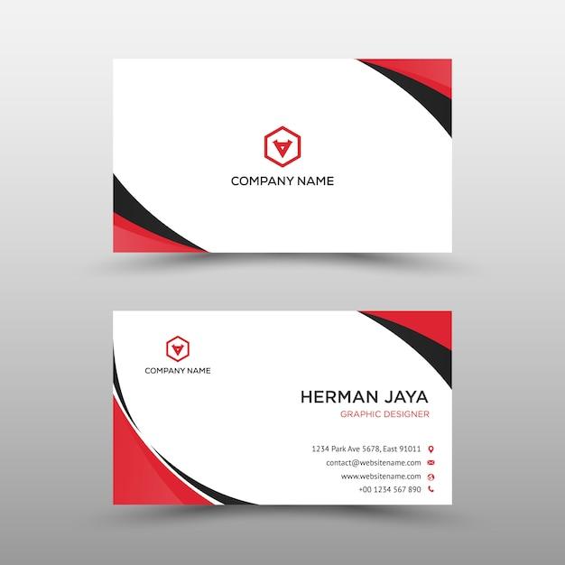 Modelo de cartão-de-visita - vermelho e preto Vetor Premium