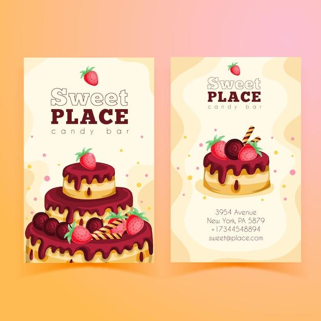Modelo de cartão de visita vertical frente e verso para festa de aniversário Vetor Premium
