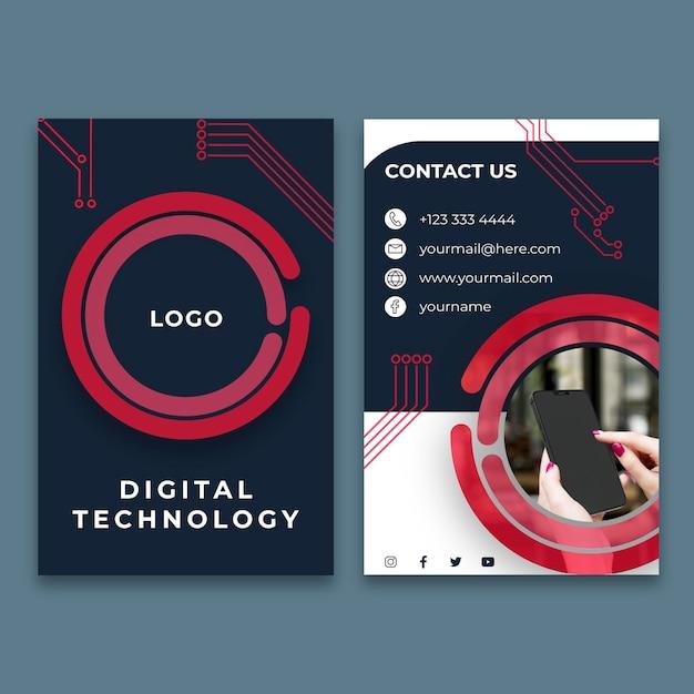 Modelo de cartão de visita vertical para tecnologia digital Vetor Premium