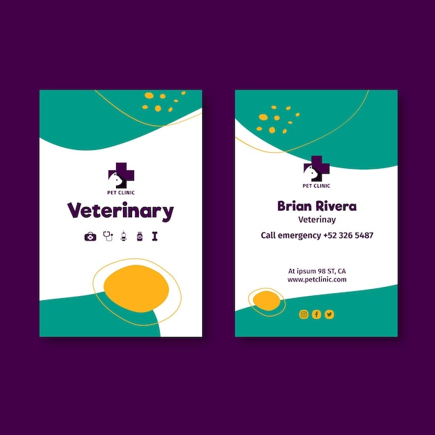 Modelo de cartão de visita vertical veterinário com foto Vetor Premium