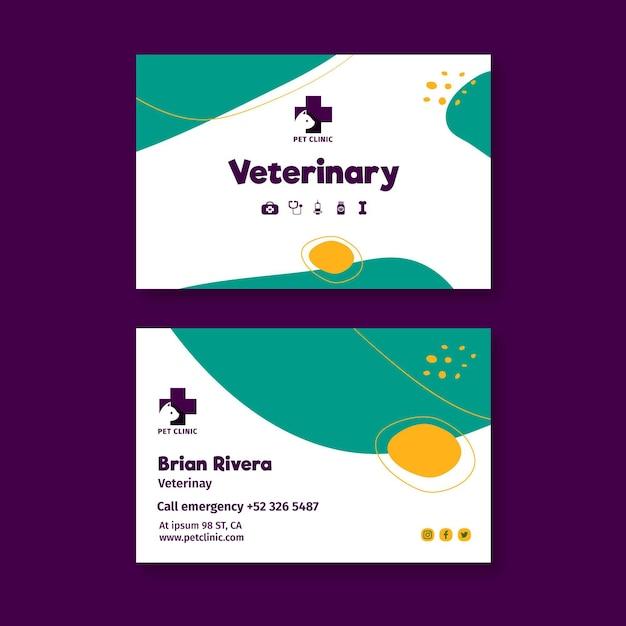 Modelo de cartão de visita veterinário com foto Vetor Premium