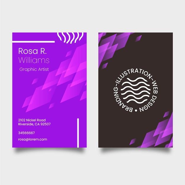 Modelo de cartão-de-visita - violeta de néon Vetor grátis