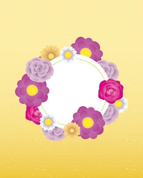 Modelo de cartão decorativo floral com moldura de círculo Vetor Premium